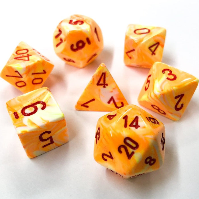 Festive Sunburst Polyhedral RPG Dice Set