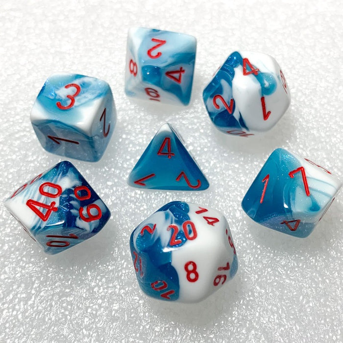Gemini Astral Blue-White Polyhedral RPG Dice Set