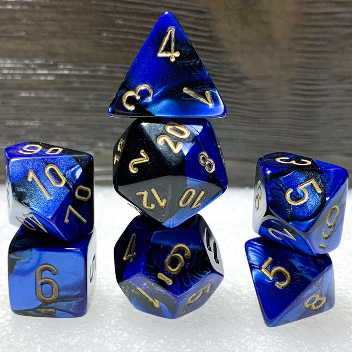 Gemini Black-Blue Polyhedral RPG Dice Set