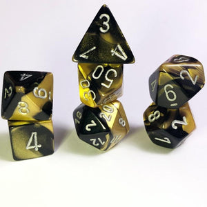 Gemini Black Gold Polyhedral RPG Dice Set