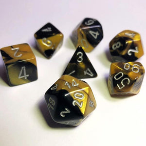 Gemini Black-Gold Polyhedral RPG Dice Set