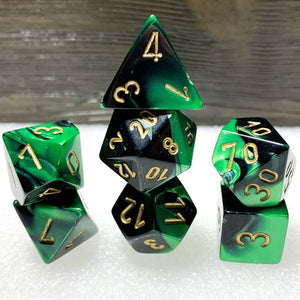 Gemini Black-Green Polyhedral RPG Dice Set