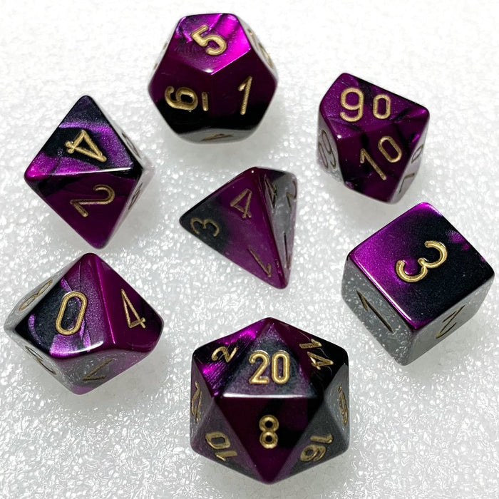 Gemini Black-Purple Polyhedral RPG Dice Set