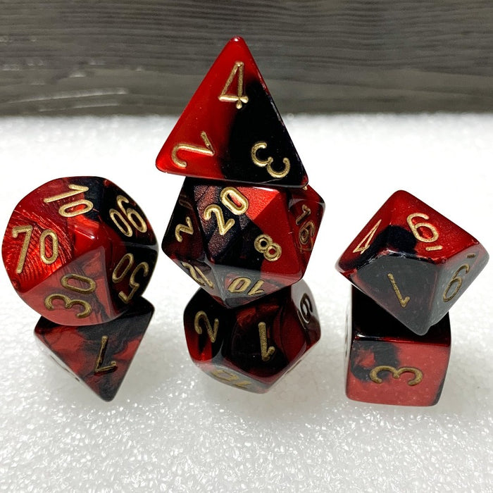 Gemini Black-Red Polyhedral RPG Dice Set