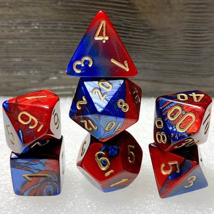Gemini Blue-Red Polyhedral RPG Dice Set