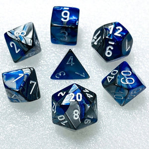Gemini Blue-Steel Polyhedral RPG Dice Set