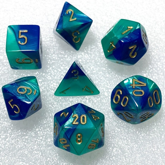Gemini Blue-Teal Polyhedral RPG Dice Set