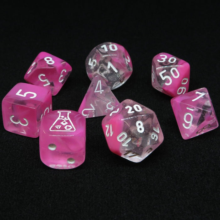Gemini Clear-Pink Luminary Polyhedral RPG Dice Set