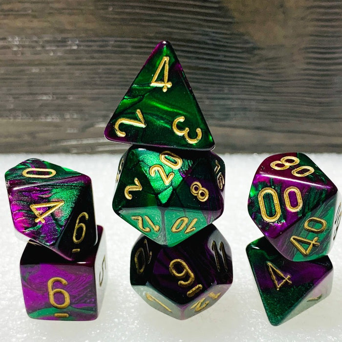 Gemini Green-Purple Polyhedral RPG Dice Set
