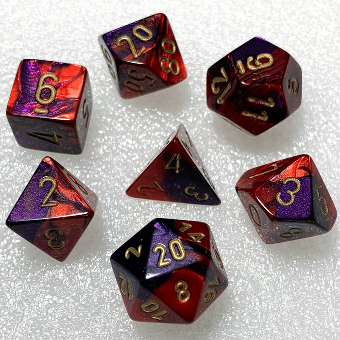 Gemini Purple-Red Polyhedral RPG Dice Set