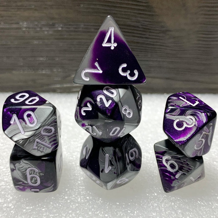 Gemini Purple-Steel Polyhedral RPG Dice Set