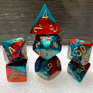 Gemini Red-Teal Polyhedral RPG Dice Set