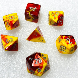 Gemini Red-Yellow Polyhedral RPG Dice Set