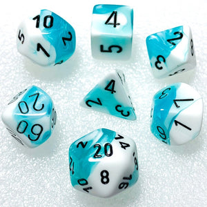 Gemini Teal-White Polyhedral RPG Dice Set