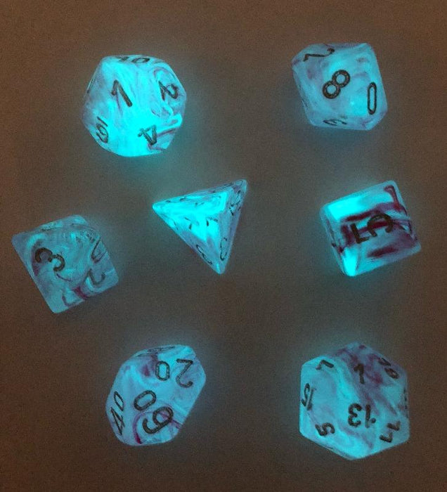 Ghostly Glow Pink Glow in the Dark Polyhedral RPG Dice Set