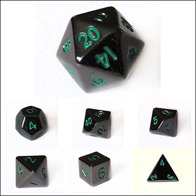Metal 10mm Gloss Black with Green Numbers Bulk Dice Pieces