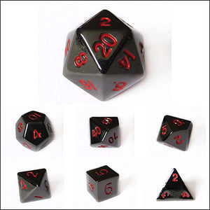 Metal 10mm Gloss Black with Red Numbers Bulk Dice Pieces