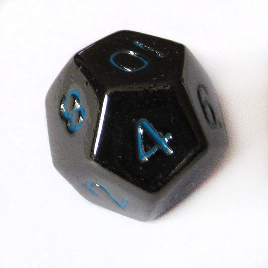 Metal 10mm Gloss Black with Blue Numbers Bulk Dice Pieces