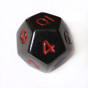 10mm Gloss Black d12 Bulk Dice