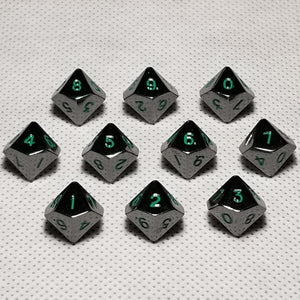 Set of 10 10mm Gloss Black d10 Polyhedral RPG Dice With Green Numbers