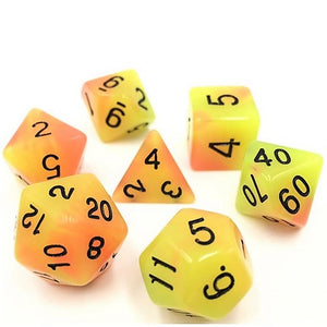Yellow Orange Glow in the Dark Polyhedral RPG Dice Set