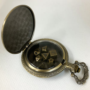 Gold Steampunk Style Pocket Watch Shell with Set of Metal Micro Polyhedral Dice
