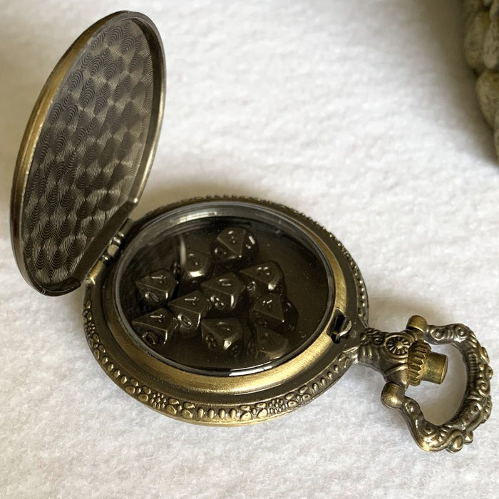 Gold Steampunk Style Pocket Watch Shell with Set of 10 Metal Micro D10 Dice