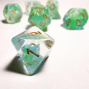 Green and Blue Nebula Swirl Polyhedral RPG Dice Set