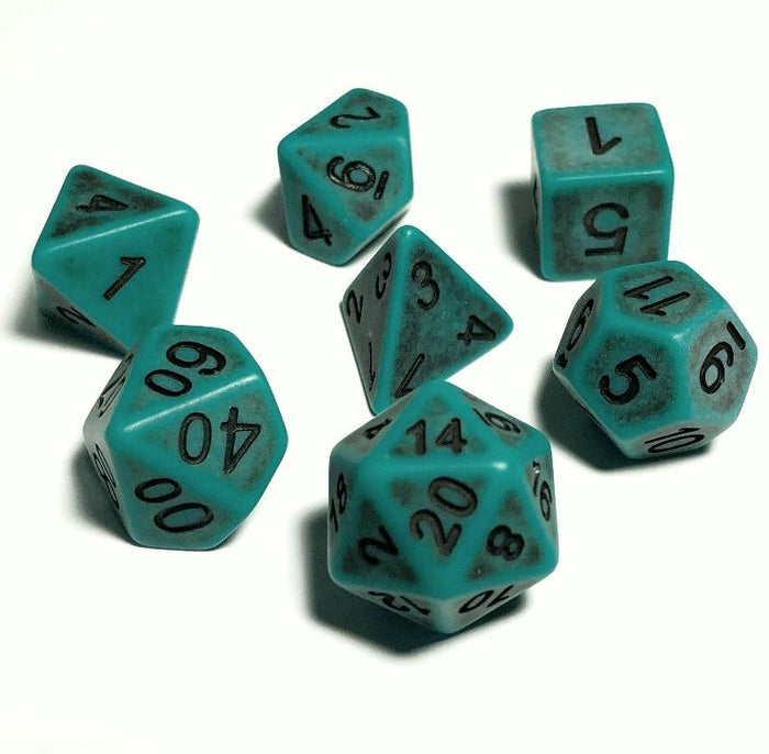 Green Ancient Bone Polyhedral RPG Dice Set