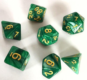 Green and Gold Pearl RPG Polyhedral Dice Set