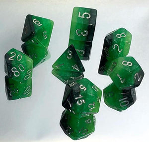 Monochromatic Green Gradient Polyhedral RPG Dice Set