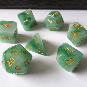 Green Jade Polyhedral RPG Dice Set