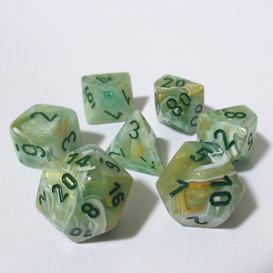 Green Marble Polyhedral RPG Dice Set