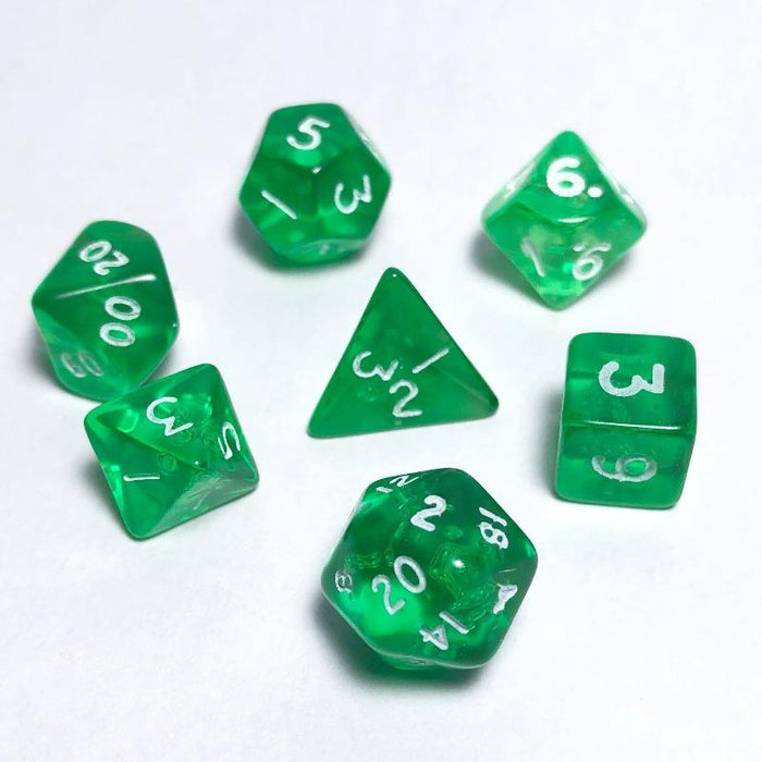 Translucent Green 10mm Polyhedral RPG Dice Set