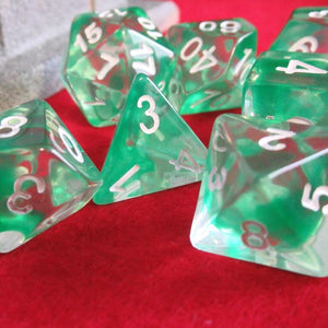 Green Nebula Swirl Polyhedral RPG Dice Set