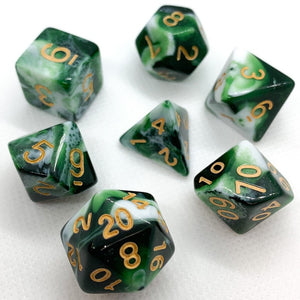 Green Dragon Polyhedral RPG Dice Set