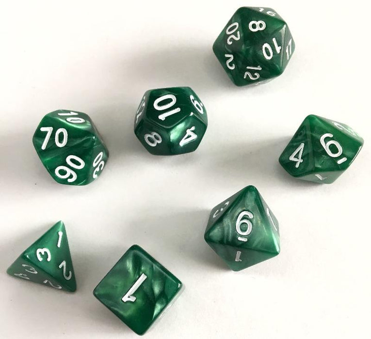 Green Pearl Polyhedral RPG Dice Set