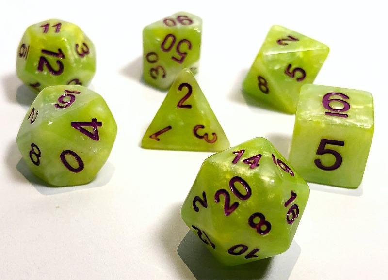 Green and Yellow Marble Polyhedral RPG Dice Set