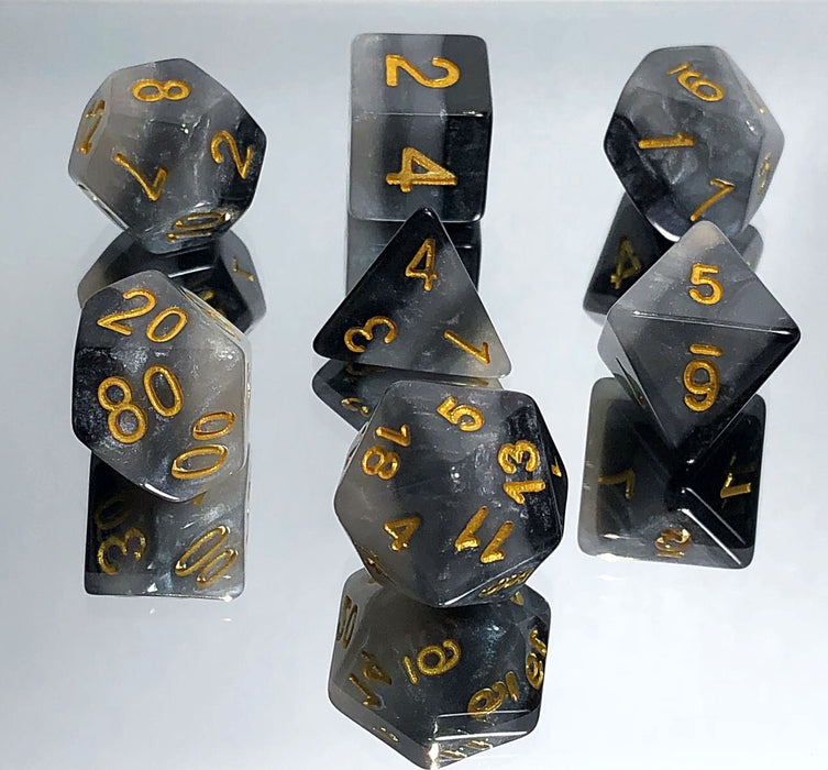 Monochromatic Black and White Gradient Polyhedral RPG Dice Set