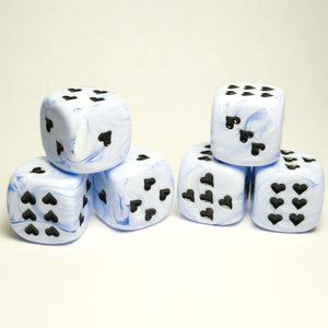 Blue Ice Cream Dice with Heart Pips