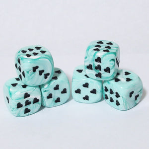 Green Ice Cream Dice with Heart Pips