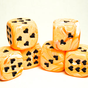 Orange Ice Cream Dice with Heart Pips