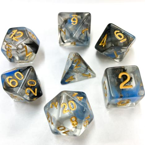 Black and Blue Nebula Polyhedral RPG Dice Set