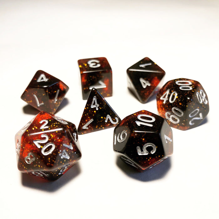 Red Glitter Polyhedral RPG Dice Set