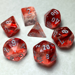 Nebula Red Polyhedral RPG Dice Set