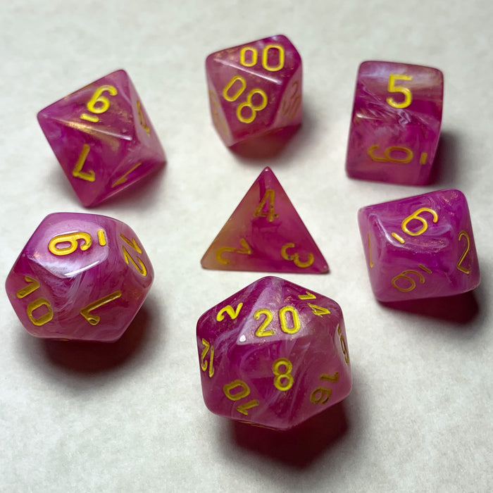 Leaf Fuschia Polyhedral RPG Dice Set