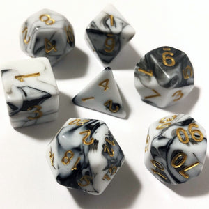 Black and White Swirl Polyhedral RPG Dice Set