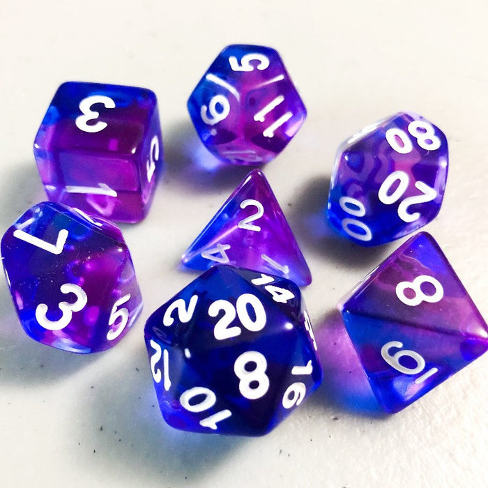 Indigo Sea Translucent Polyhedral RPG Dice Set