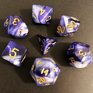 Indigo and White Blend Polyhedral RPG Dice Set