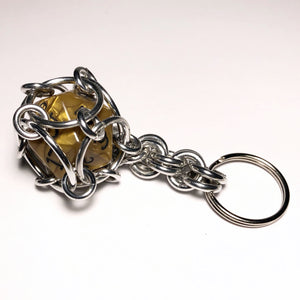 D20 Dice Cage Chainmaille Keychain